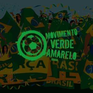 Logo do Movimento Verde Amarelo com uma ilustração da Seleção Brasileira de fundo