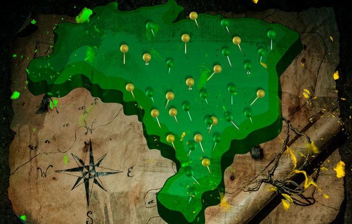 Ilustração de um mapa do Brasil verde com alfinetes verdes e amarelos